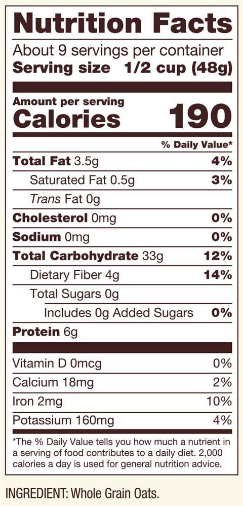 quaker white oats nutrition facts