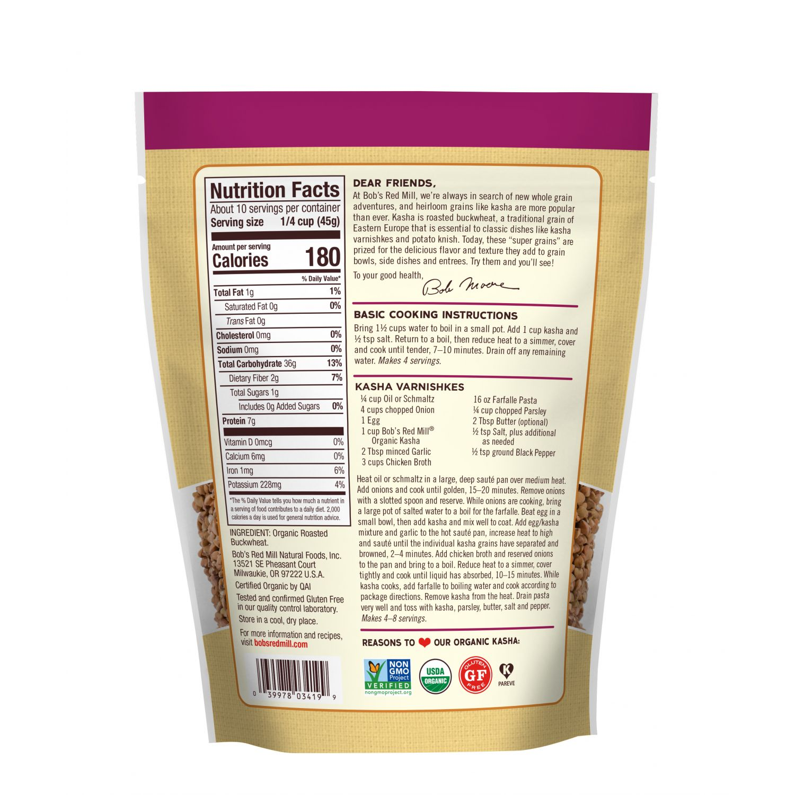 Organic Whole Grain Buckwheat Kasha