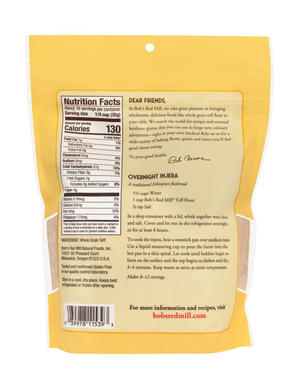 Teff Flour Bob S Red Mill Natural Foods
