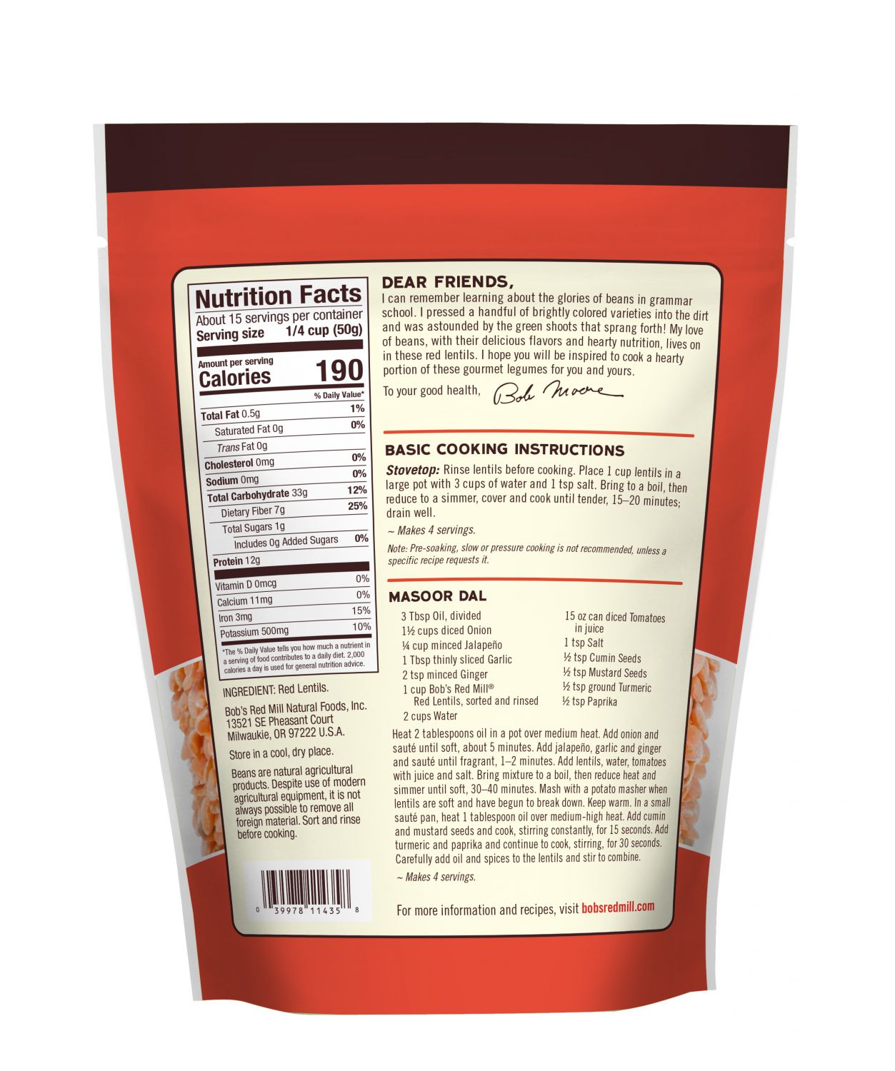 Red Lentils Bob S Red Mill Natural Foods