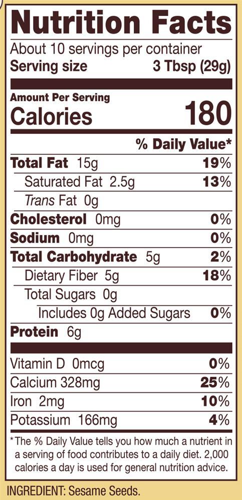 Nutrition Facts 1 Tbsp Sesame Seeds