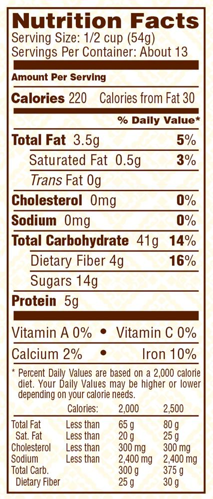 Muesli nutritional info nutrition ftempo for Wahoo s fish taco menu nutrition